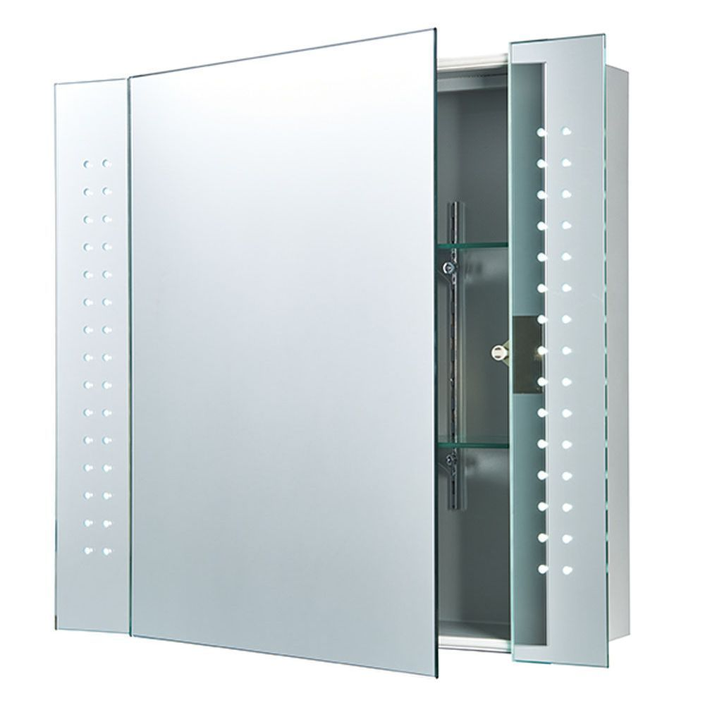 Bathroom mirror cabinets with light and shaver socket - Saxby 60894 Revelo 2w Led Mirror Bathroom Cabinet Motion Sensor