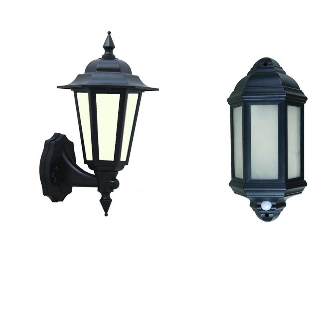 Image of: Led Outdoor Garden Wall Half Lantern Pir Black Ip44 External 7 Watt