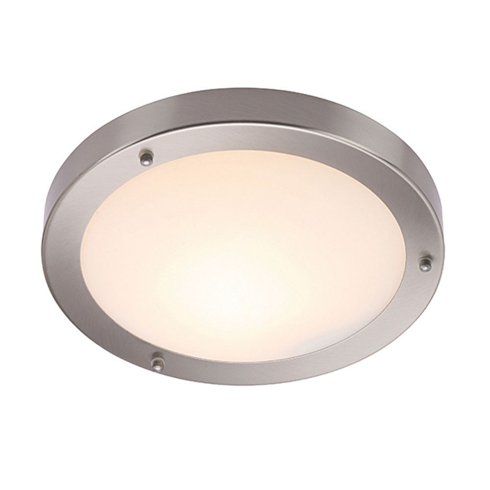 Saxby 12421 Portico Satin Nickel Dimmable Flush Fit Bathroom Ceiling Light Ip44